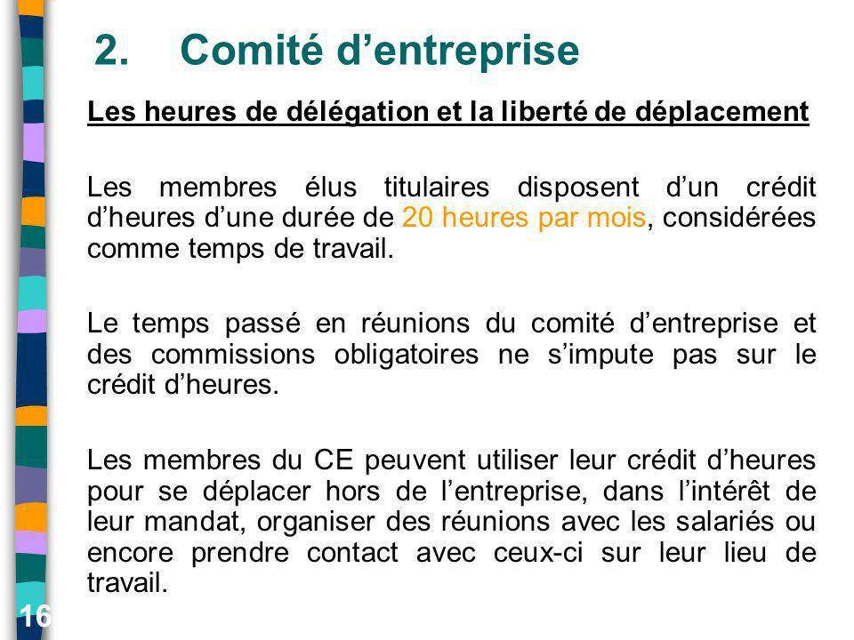 16 2.Comité dentreprise Les heures de délégation et la liberté de déplacement Les membres élus titulaires disposent dun crédit dheures dune durée de 2