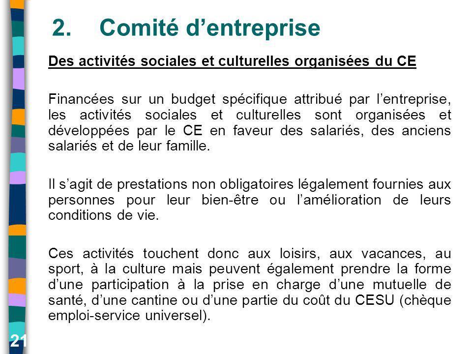 21 2.Comité dentreprise Des activités sociales et culturelles organisées du CE Financées sur un budget spécifique attribué par lentreprise, les activi