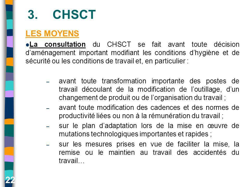 22 3.CHSCT LES MOYENS La consultation du CHSCT se fait avant toute décision daménagement important modifiant les conditions dhygiène et de sécurité ou