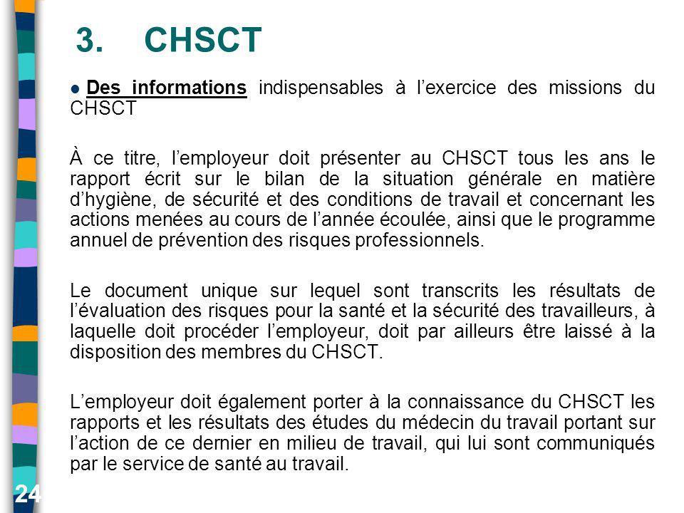 24 3.CHSCT Des informations indispensables à lexercice des missions du CHSCT À ce titre, lemployeur doit présenter au CHSCT tous les ans le rapport éc