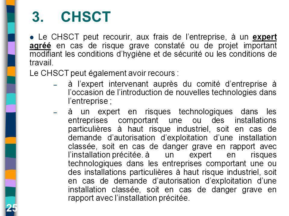 25 3.CHSCT Le CHSCT peut recourir, aux frais de lentreprise, à un expert agréé en cas de risque grave constaté ou de projet important modifiant les co