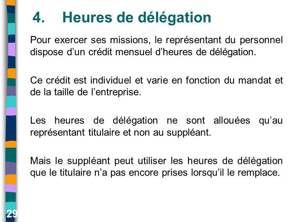 29 4.Heures de délégation Pour exercer ses missions, le représentant du personnel dispose dun crédit mensuel dheures de délégation. Ce crédit est indi
