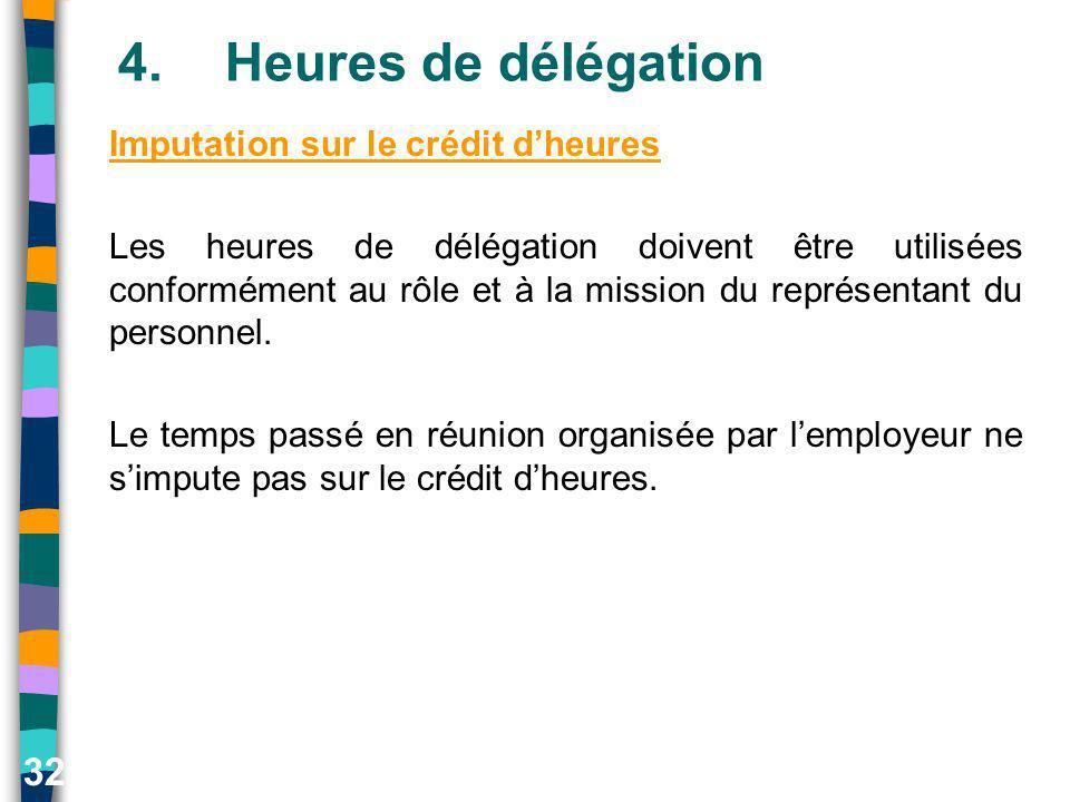 32 4.Heures de délégation Imputation sur le crédit dheures Les heures de délégation doivent être utilisées conformément au rôle et à la mission du rep