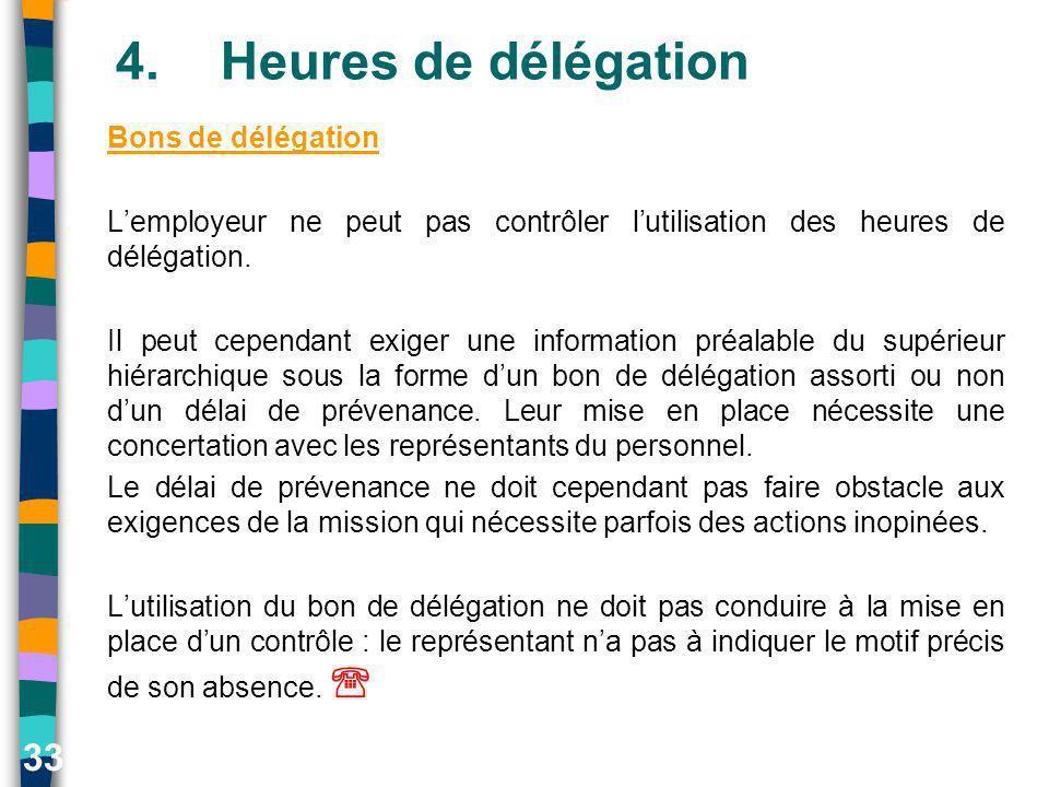33 4.Heures de délégation Bons de délégation Lemployeur ne peut pas contrôler lutilisation des heures de délégation. Il peut cependant exiger une info
