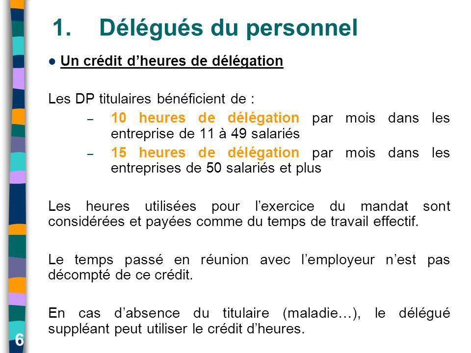 6 1.Délégués du personnel Un crédit dheures de délégation Les DP titulaires bénéficient de : – 10 heures de délégation par mois dans les entreprise de
