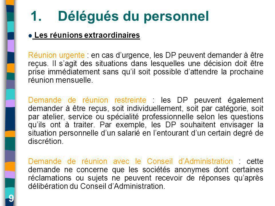 9 1.Délégués du personnel Les réunions extraordinaires Réunion urgente : en cas durgence, les DP peuvent demander à être reçus. Il sagit des situation