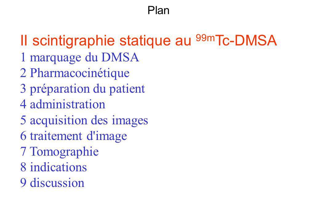 Plan II scintigraphie statique au 99m Tc-DMSA 1 marquage du DMSA 2 Pharmacocinétique 3 préparation du patient 4 administration 5 acquisition des image