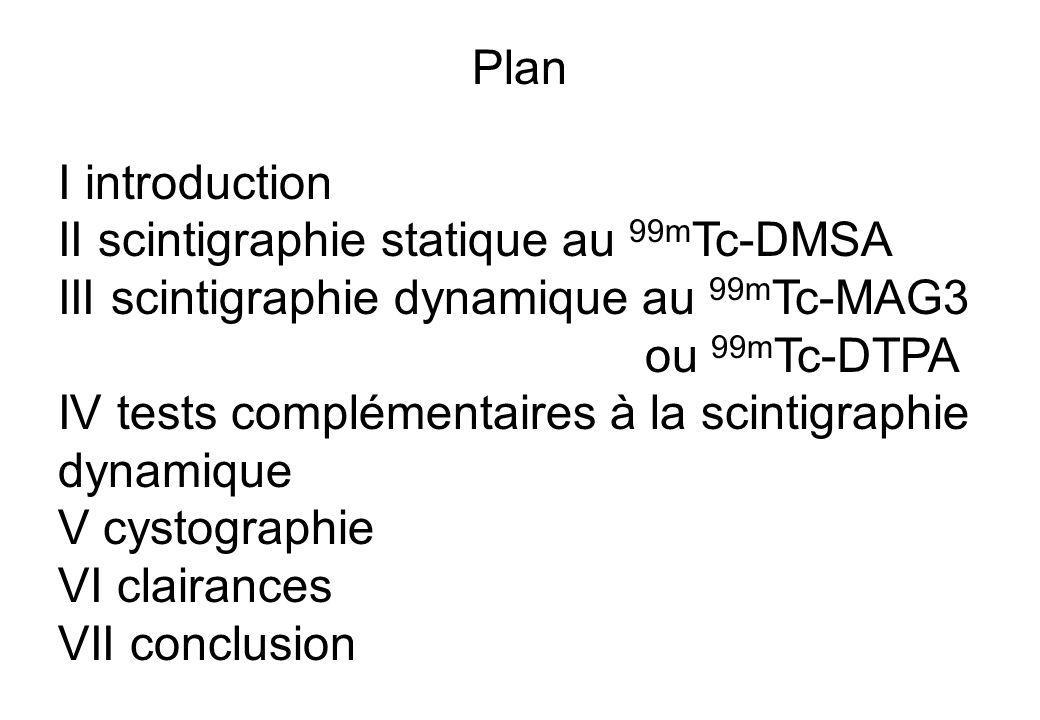 Plan I introduction II scintigraphie statique au 99m Tc-DMSA III scintigraphie dynamique au 99m Tc-MAG3 ou 99m Tc-DTPA IV tests complémentaires à la s