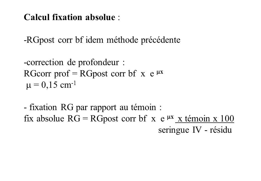 Calcul fixation absolue : -RGpost corr bf idem méthode précédente -correction de profondeur : RGcorr prof = RGpost corr bf x e x = 0,15 cm -1 - fixati