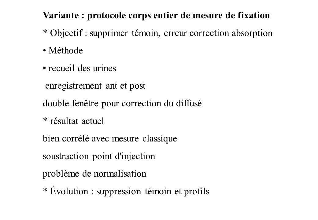 Variante : protocole corps entier de mesure de fixation * Objectif : supprimer témoin, erreur correction absorption Méthode recueil des urines enregis