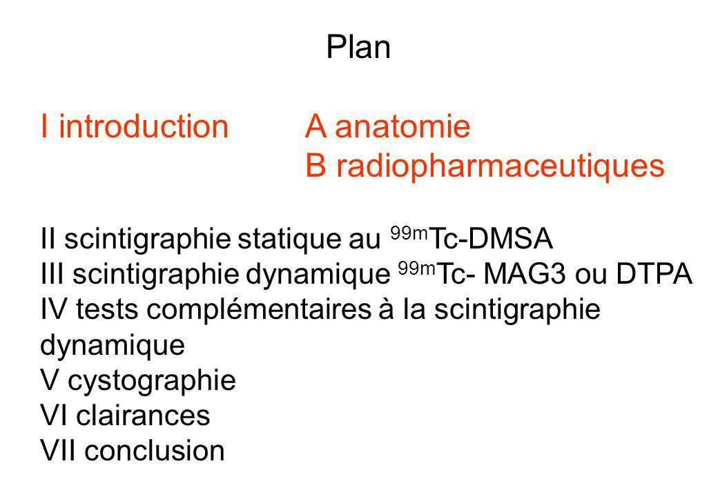 Plan I introduction A anatomie B radiopharmaceutiques II scintigraphie statique au 99m Tc-DMSA III scintigraphie dynamique 99m Tc- MAG3 ou DTPA IV tes