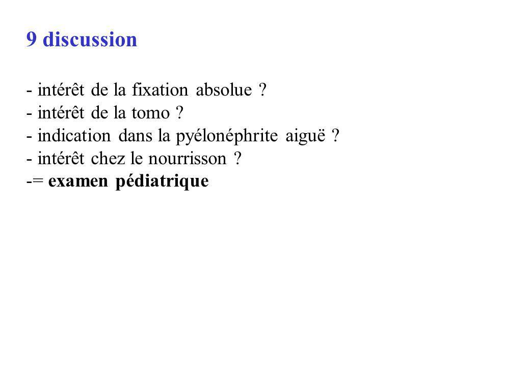 9 discussion - intérêt de la fixation absolue ? - intérêt de la tomo ? - indication dans la pyélonéphrite aiguë ? - intérêt chez le nourrisson ? -= ex