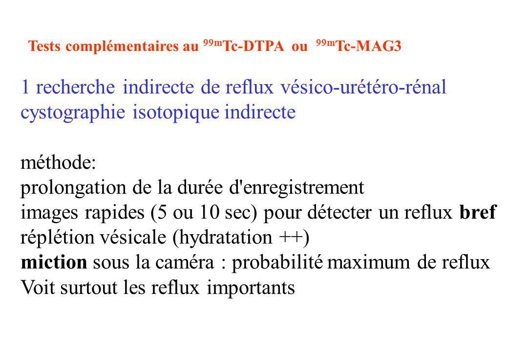 Tests complémentaires au 99m Tc-DTPA ou 99m Tc-MAG3 1 recherche indirecte de reflux vésico-urétéro-rénal cystographie isotopique indirecte méthode: pr