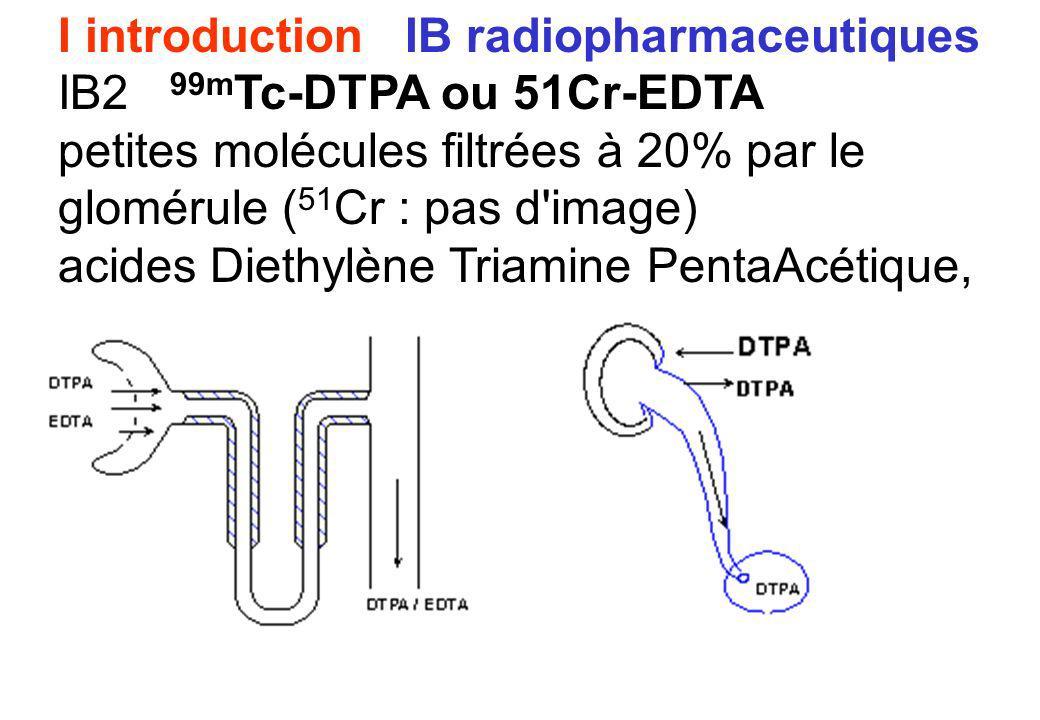I introduction IB radiopharmaceutiques IB2 99m Tc-DTPA ou 51Cr-EDTA petites molécules filtrées à 20% par le glomérule ( 51 Cr : pas d'image) acides Di