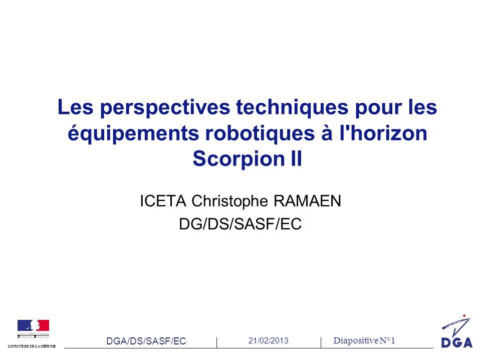 DGA/DS/SASF/EC 21/02/2013 MINISTÈRE DE LA DÉFENSE Diapositive N°1 Les perspectives techniques pour les équipements robotiques à l horizon Scorpion II ICETA Christophe RAMAEN DG/DS/SASF/EC