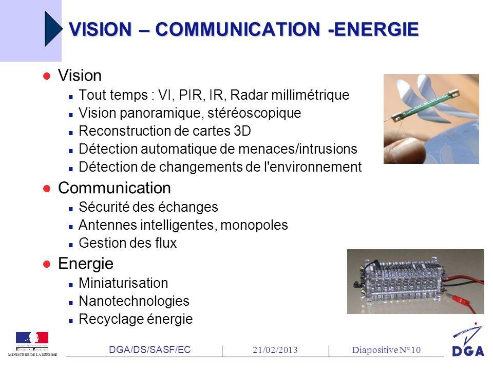 DGA/DS/SASF/EC 21/02/2013Diapositive N°10 MINISTÈRE DE LA DÉFENSE VISION – COMMUNICATION -ENERGIE Vision Tout temps : VI, PIR, IR, Radar millimétrique Vision panoramique, stéréoscopique Reconstruction de cartes 3D Détection automatique de menaces/intrusions Détection de changements de l environnement Communication Sécurité des échanges Antennes intelligentes, monopoles Gestion des flux Energie Miniaturisation Nanotechnologies Recyclage énergie