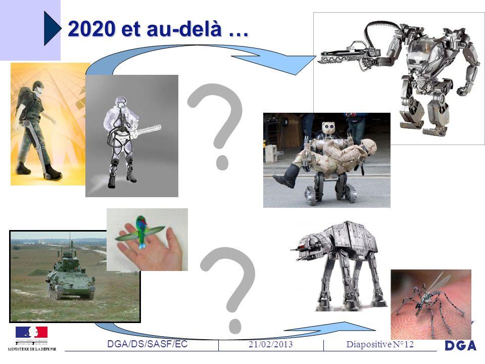 DGA/DS/SASF/EC 21/02/2013Diapositive N°12 MINISTÈRE DE LA DÉFENSE 2020 et au-delà … ? ?