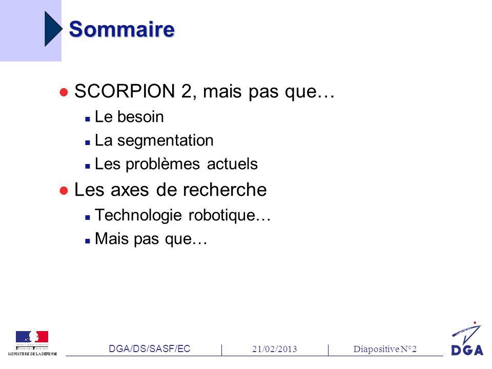 DGA/DS/SASF/EC 21/02/2013Diapositive N°2 MINISTÈRE DE LA DÉFENSE Sommaire SCORPION 2, mais pas que… Le besoin La segmentation Les problèmes actuels Les axes de recherche Technologie robotique… Mais pas que…