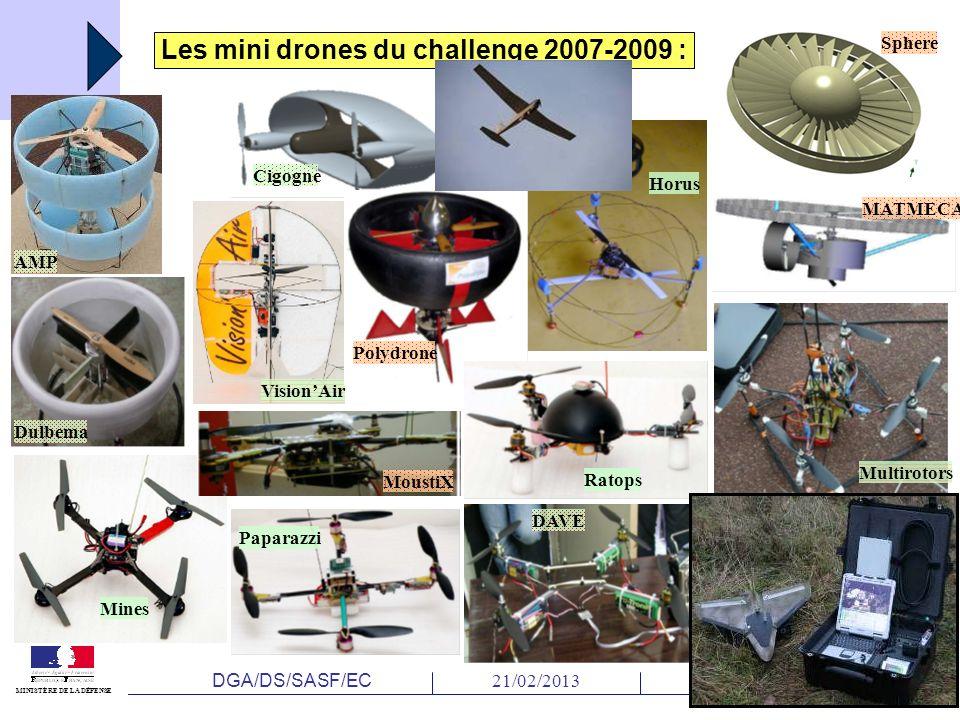 DGA/DS/SASF/EC 21/02/2013Diapositive N°6 MINISTÈRE DE LA DÉFENSE Multirotors Mines AMP Cigogne DAVE Dulbema Paparazzi Faucon Noir Horus MoustiX VisionAir MATMECA Polydrone Ratops Sphere Les mini drones du challenge 2007-2009 :