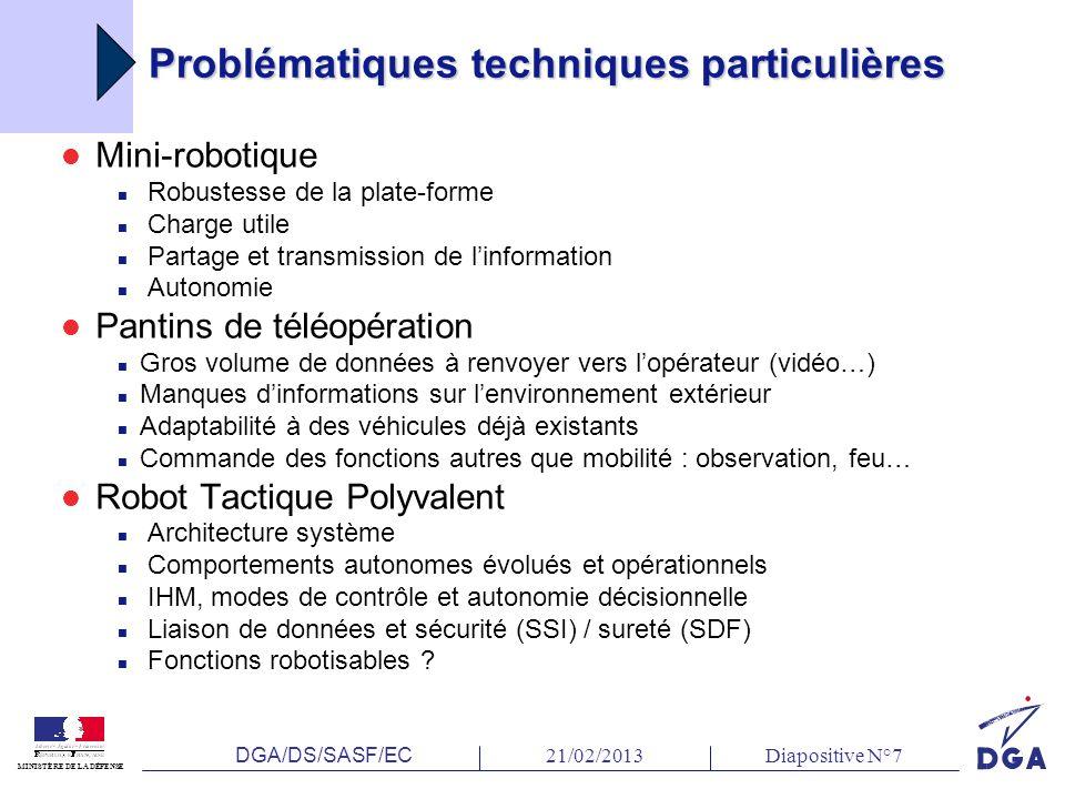 DGA/DS/SASF/EC 21/02/2013Diapositive N°7 MINISTÈRE DE LA DÉFENSE Problématiques techniques particulières Mini-robotique Robustesse de la plate-forme C