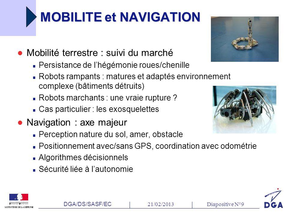 DGA/DS/SASF/EC 21/02/2013Diapositive N°9 MINISTÈRE DE LA DÉFENSE MOBILITE et NAVIGATION Mobilité terrestre : suivi du marché Persistance de lhégémonie roues/chenille Robots rampants : matures et adaptés environnement complexe (bâtiments détruits) Robots marchants : une vraie rupture .