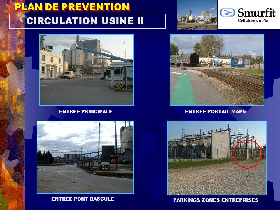 PLAN DE PREVENTION ENTREE PRINCIPALEENTREE PORTAIL MAP5 ENTREE PONT BASCULE PARKINGS ZONES ENTREPRISES CIRCULATION USINE II