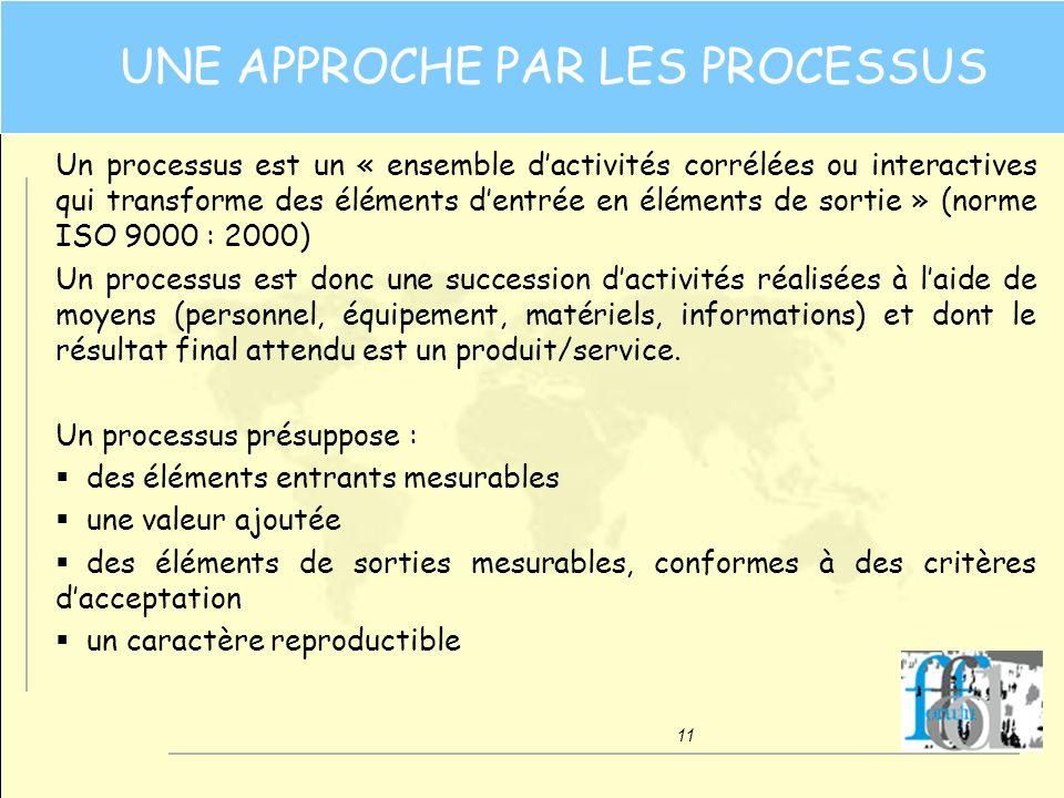 11 UNE APPROCHE PAR LES PROCESSUS Un processus est un « ensemble dactivités corrélées ou interactives qui transforme des éléments dentrée en éléments