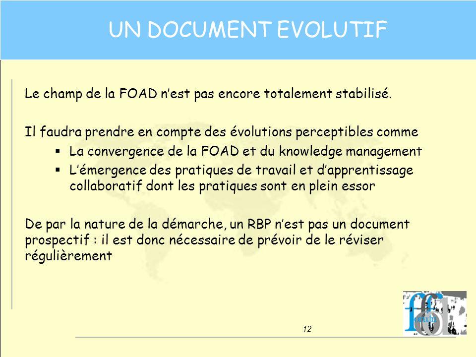 12 UN DOCUMENT EVOLUTIF Le champ de la FOAD nest pas encore totalement stabilisé. Il faudra prendre en compte des évolutions perceptibles comme La con