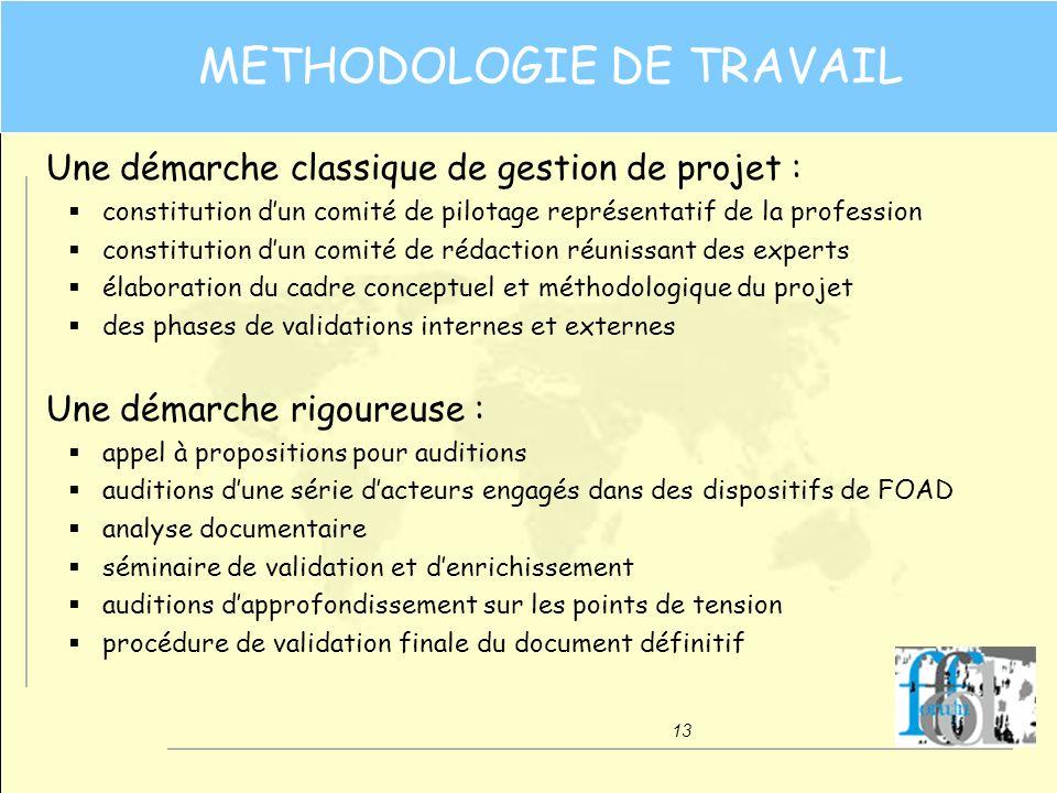 13 METHODOLOGIE DE TRAVAIL Une démarche classique de gestion de projet : constitution dun comité de pilotage représentatif de la profession constituti