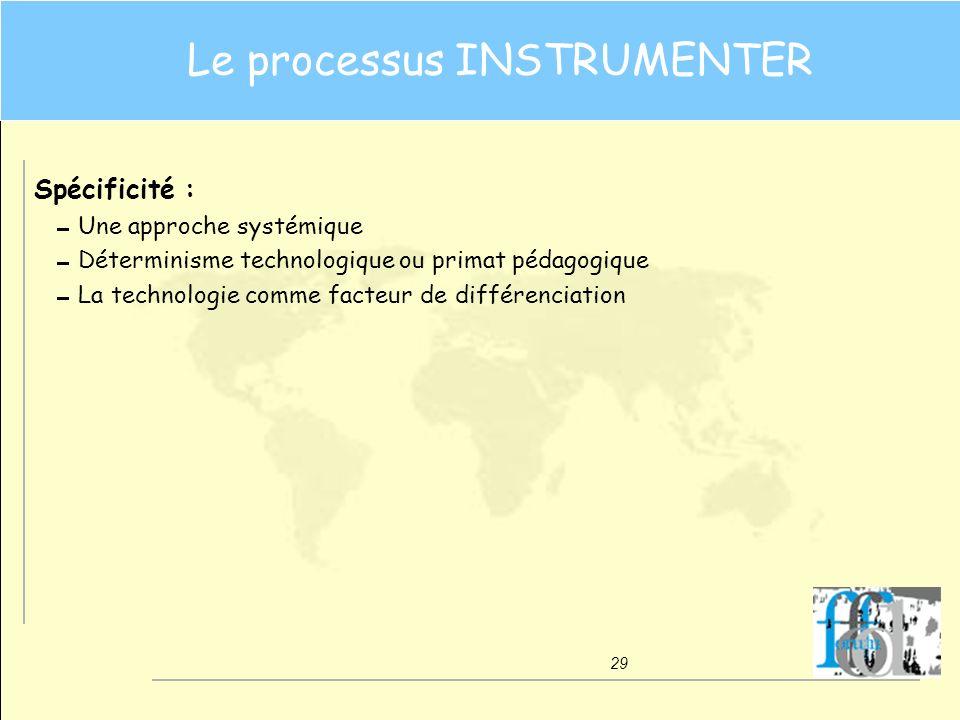 29 Le processus INSTRUMENTER Spécificité : Une approche systémique Déterminisme technologique ou primat pédagogique La technologie comme facteur de di