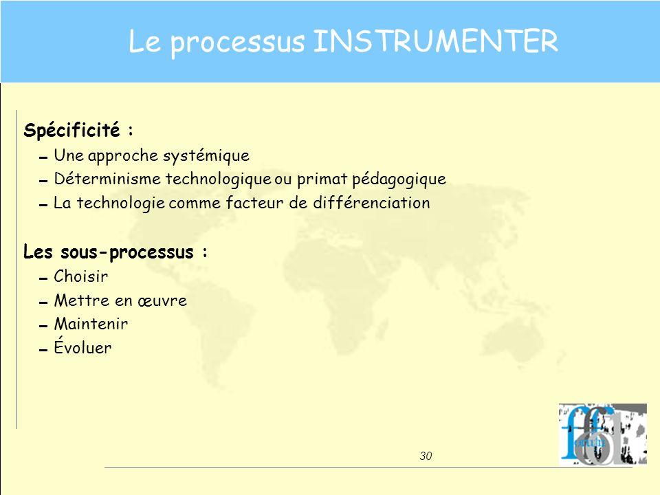 30 Le processus INSTRUMENTER Spécificité : Une approche systémique Déterminisme technologique ou primat pédagogique La technologie comme facteur de di