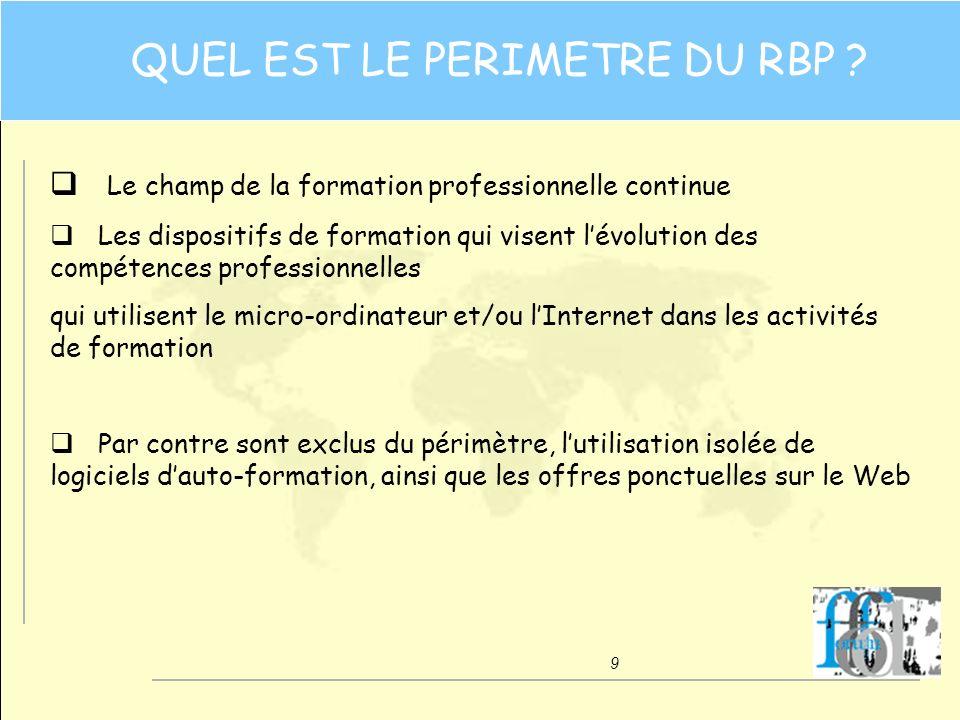 10 UNE APPROCHE « ORIENTEE CLIENT » qDans le contexte français du tiers-payant, une approche « orientée client » signifie un client « pluriel » Le prescripteur Le financeur Lapprenant qLapprenant, quelle que soit la diversité des contextes, est au cœur du RBP