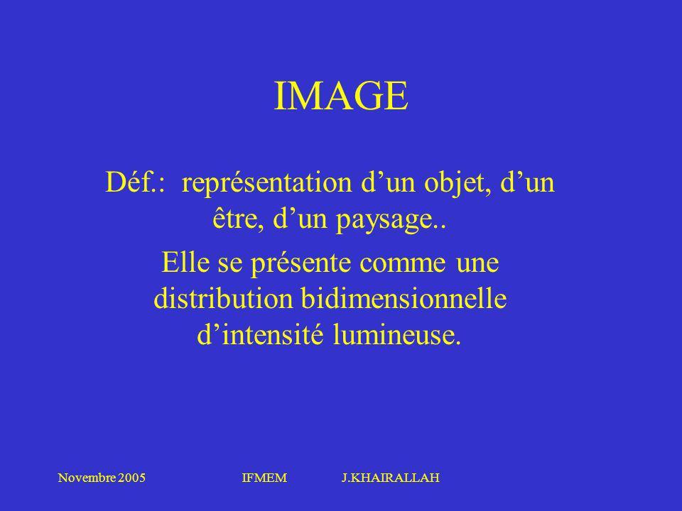 Novembre 2005IFMEM J.KHAIRALLAH ORIGINE DES IMAGES NUMERISEES Numérisation de documents analogiques déjà utilisés Numérisation immédiatement après l acquisition : caméra à la sortie de LA L (amplificateur de luminance), cest la technique de FLUOROGRAPHIE Utilisation des écrans à mémoires photostimulables ERLM formats: 512, 1024, 1700, 2000 Reconstruction d images calculées en scanographie, IRM en format 256, 512 ou échographie de format plus réduit 128, 256.