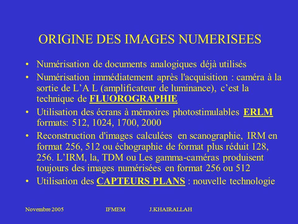 Novembre 2005IFMEM J.KHAIRALLAH ORIGINE DES IMAGES NUMERISEES Numérisation de documents analogiques déjà utilisés Numérisation immédiatement après l'a