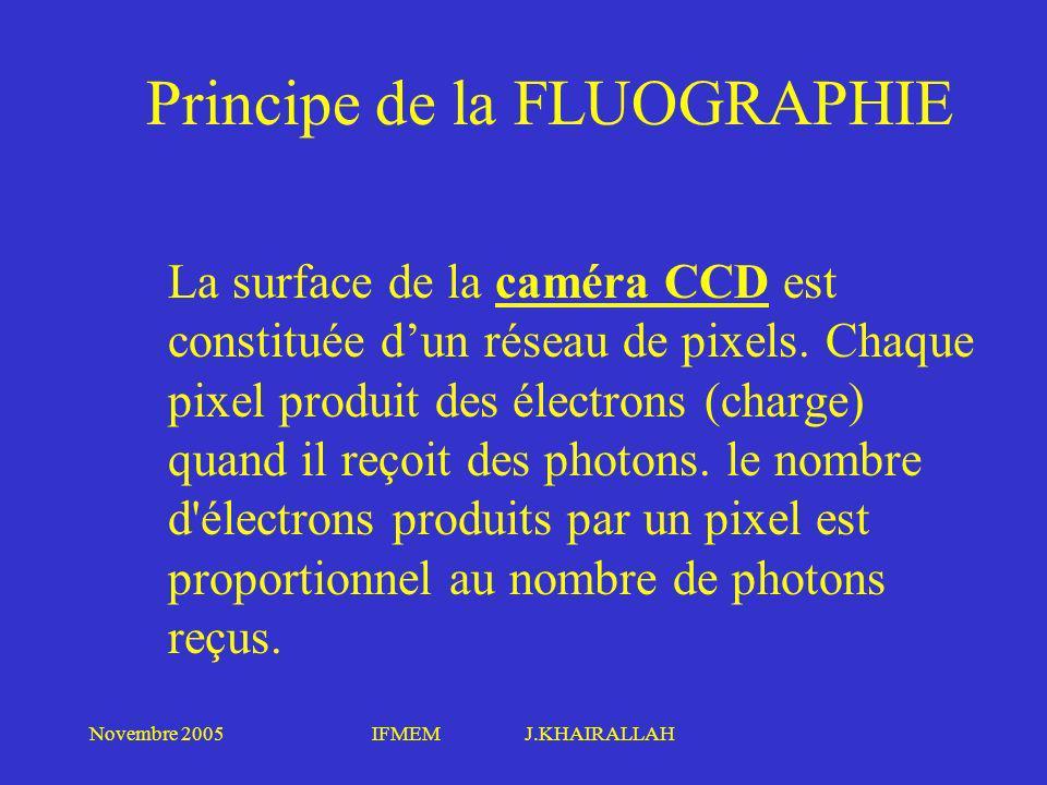 Novembre 2005IFMEM J.KHAIRALLAH Principe de la FLUOGRAPHIE La surface de la caméra CCD est constituée dun réseau de pixels. Chaque pixel produit des é