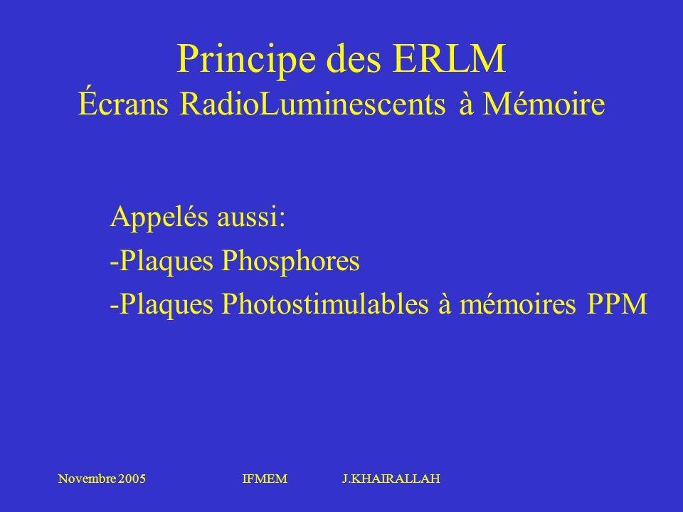 Novembre 2005IFMEM J.KHAIRALLAH Principe des ERLM Écrans RadioLuminescents à Mémoire Appelés aussi: -Plaques Phosphores -Plaques Photostimulables à mé