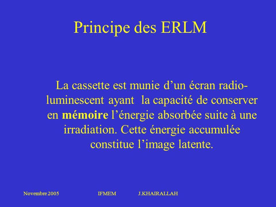 Novembre 2005IFMEM J.KHAIRALLAH Principe des ERLM La cassette est munie dun écran radio- luminescent ayant la capacité de conserver en mémoire lénergi