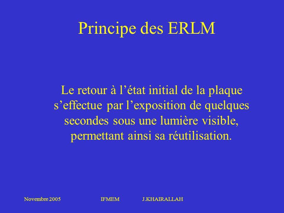 Novembre 2005IFMEM J.KHAIRALLAH Principe des ERLM Le retour à létat initial de la plaque seffectue par lexposition de quelques secondes sous une lumiè