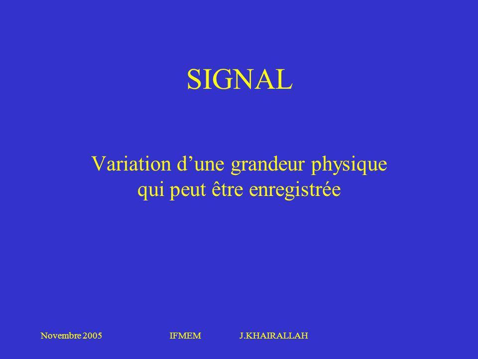 Novembre 2005IFMEM J.KHAIRALLAH SIGNAL Variation dune grandeur physique qui peut être enregistrée