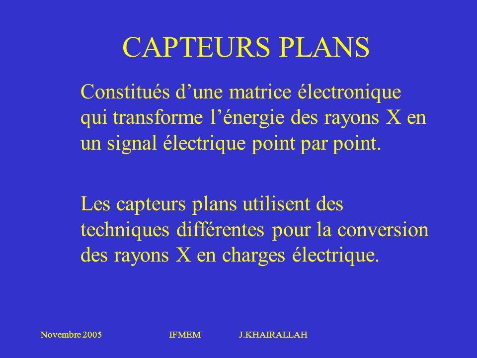 Novembre 2005IFMEM J.KHAIRALLAH CAPTEURS PLANS Constitués dune matrice électronique qui transforme lénergie des rayons X en un signal électrique point