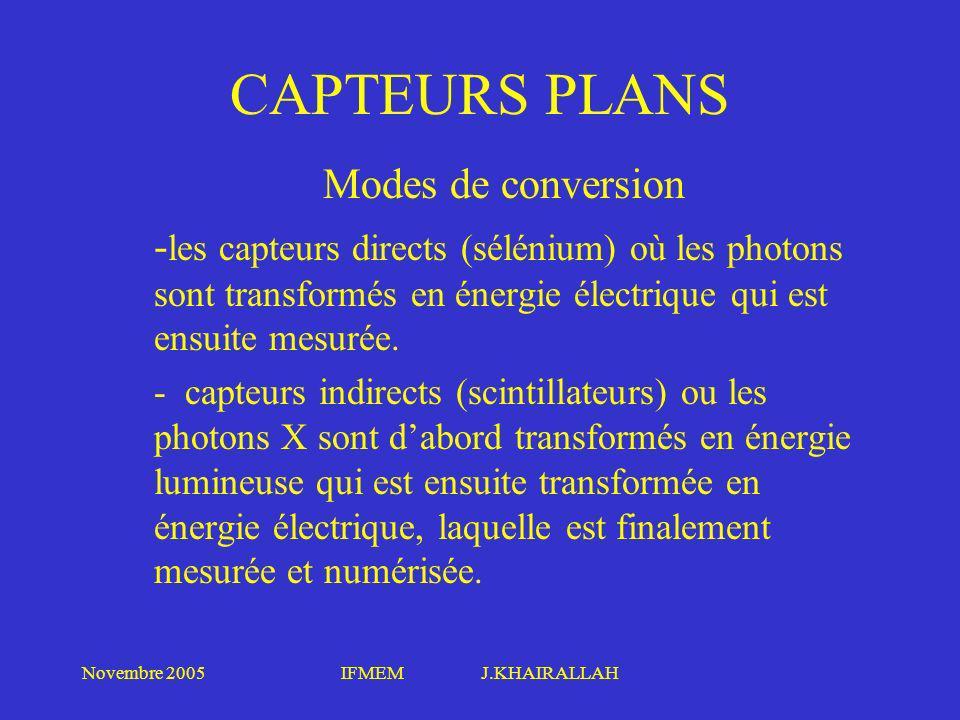 Novembre 2005IFMEM J.KHAIRALLAH CAPTEURS PLANS Modes de conversion - les capteurs directs (sélénium) où les photons sont transformés en énergie électr