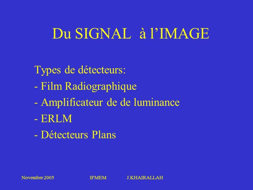Novembre 2005IFMEM J.KHAIRALLAH Types de détecteurs: - Film Radiographique - Amplificateur de de luminance - ERLM - Détecteurs Plans Du SIGNAL à lIMAG