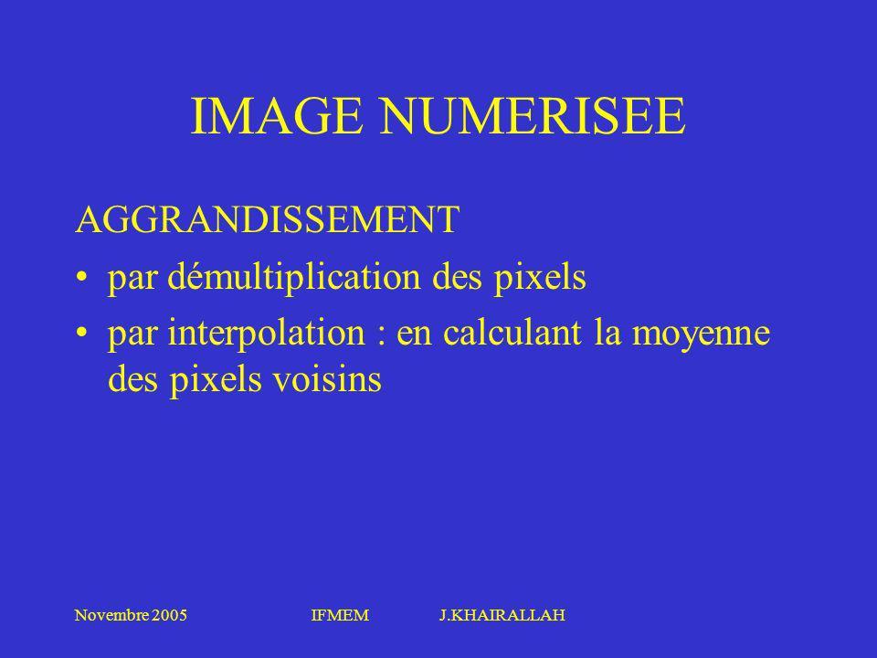 Novembre 2005IFMEM J.KHAIRALLAH IMAGE NUMERISEE AGGRANDISSEMENT par démultiplication des pixels par interpolation : en calculant la moyenne des pixels