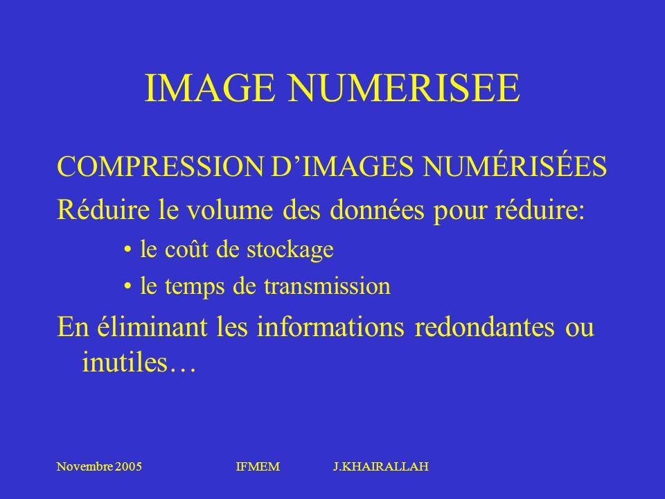 Novembre 2005IFMEM J.KHAIRALLAH IMAGE NUMERISEE COMPRESSION DIMAGES NUMÉRISÉES Réduire le volume des données pour réduire: le coût de stockage le temp