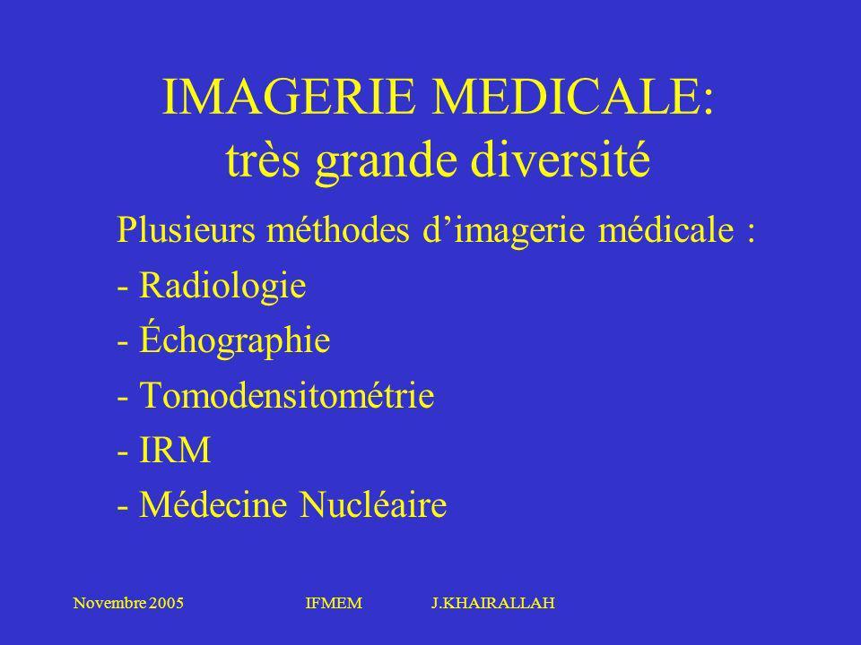 Novembre 2005IFMEM J.KHAIRALLAH IMAGERIE MEDICALE: très grande diversité Plusieurs méthodes dimagerie médicale : - Radiologie - Échographie - Tomodens