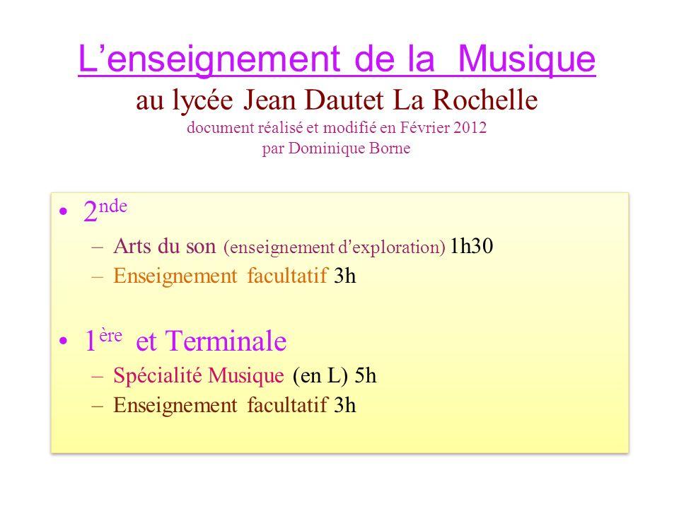 Lenseignement de la Musique au lycée Jean Dautet La Rochelle document réalisé et modifié en Février 2012 par Dominique Borne 2 nde –Arts du son (enseignement dexploration) 1h30 –Enseignement facultatif 3h 1 ère et Terminale –Spécialité Musique (en L) 5h –Enseignement facultatif 3h 2 nde –Arts du son (enseignement dexploration) 1h30 –Enseignement facultatif 3h 1 ère et Terminale –Spécialité Musique (en L) 5h –Enseignement facultatif 3h