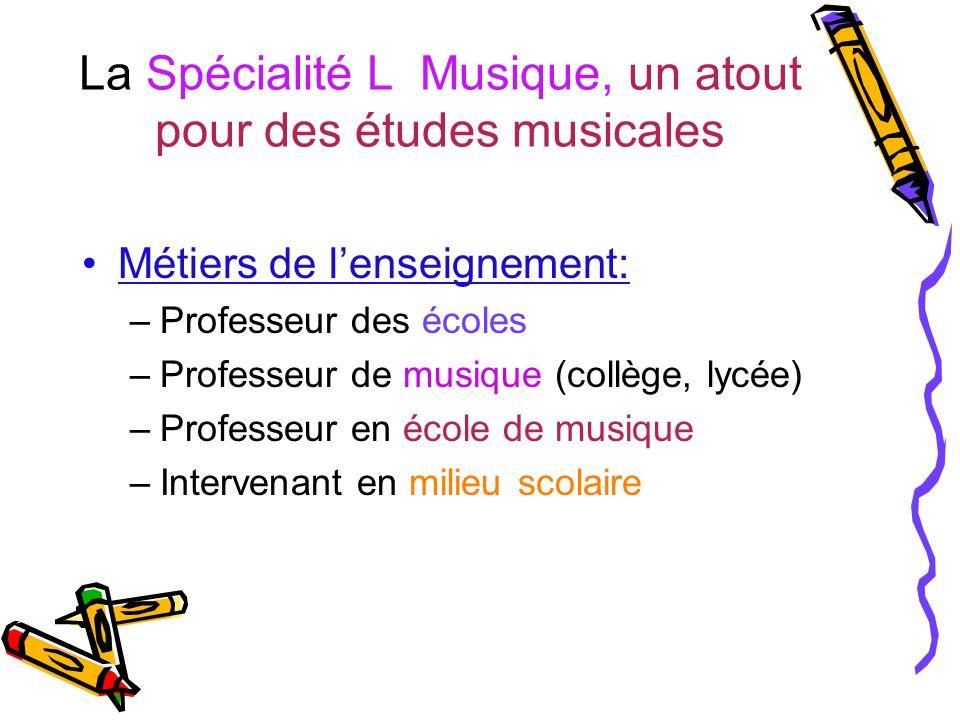 La Spécialité L Musique, un atout pour des études musicales Métiers de lenseignement: –Professeur des écoles –Professeur de musique (collège, lycée) –Professeur en école de musique –Intervenant en milieu scolaire