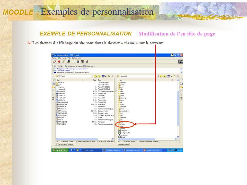A/ Les thèmes daffichage du site sont dans le dossier « thème » sur le serveur EXEMPLE DE PERSONNALISATION Modification de len tête de page MOODLE : E