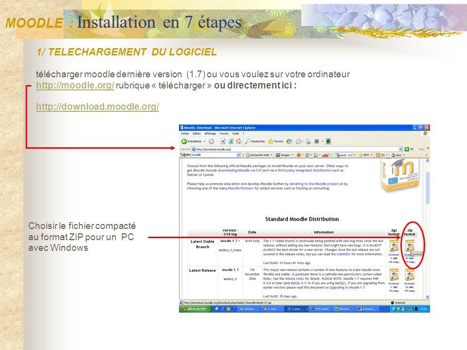 1/ TELECHARGEMENT DU LOGICIEL télécharger moodle dernière version (1.7) ou vous voulez sur votre ordinateur http://moodle.org/http://moodle.org/ rubri