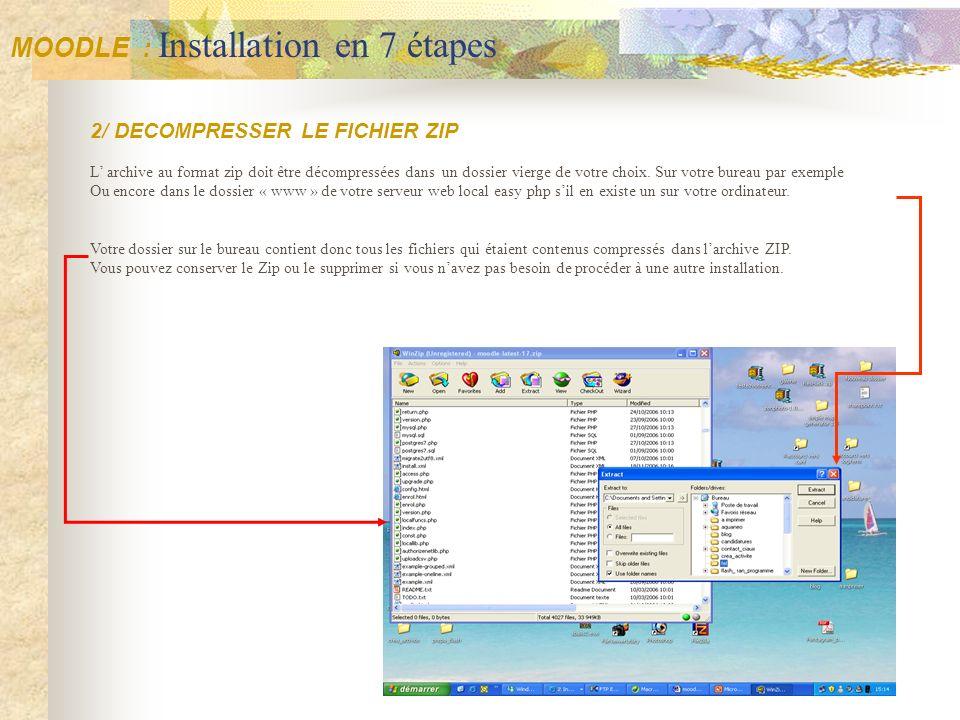2/ DECOMPRESSER LE FICHIER ZIP L archive au format zip doit être décompressées dans un dossier vierge de votre choix. Sur votre bureau par exemple Ou
